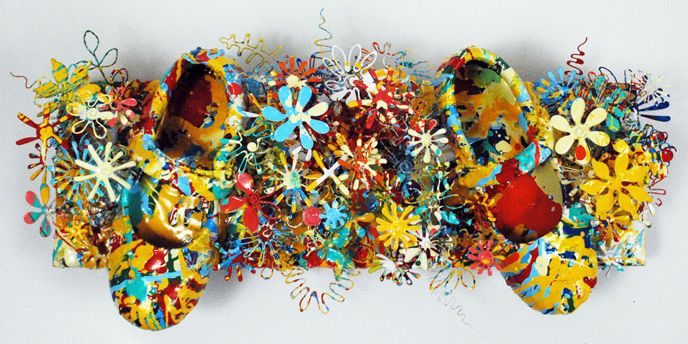 Wonderful World | School Shoes & Metal Flowers | Mixed Media Abstract Floral Art | Sculpture By Russell West
