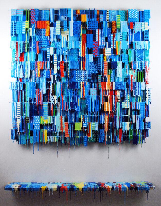 Big Late Night Lemonade Moment | Abstract Art In Blue | Russell West 3D Wall Art Sculptures