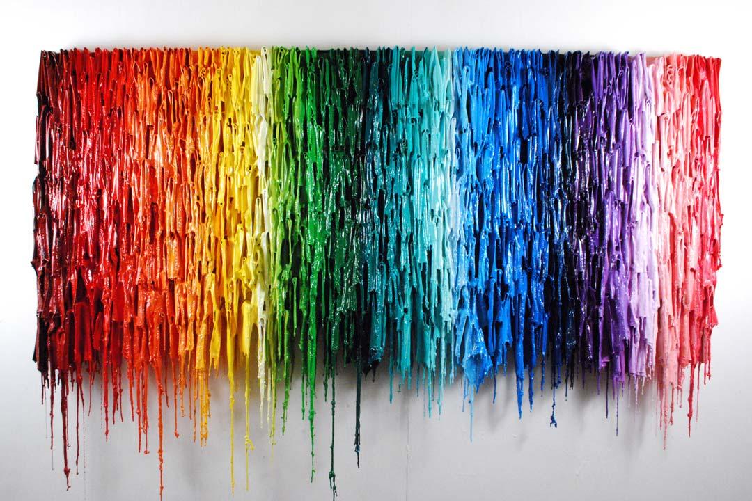Top Part Of Light Slab | One Of A Kind Artwork Large | Rainbow Art | Russell West 3D Wall Art Sculptures