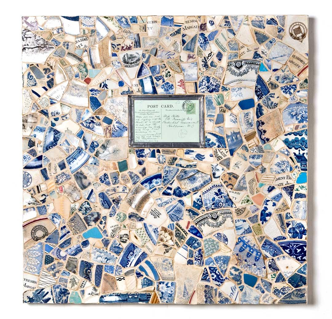 Margate Beach II   Mosaic 3D Art (Broken Victorian Crockery from Margate Beach)   Victorian Wall Art   Russell West