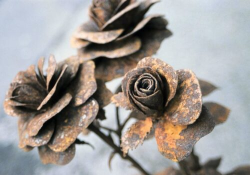 Close Up Of 'Roses' | Rusty Metal Sculpture By Russell West