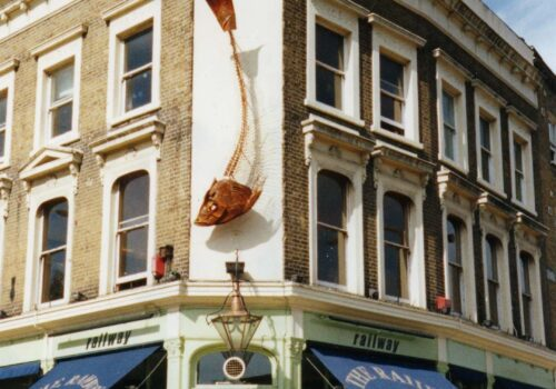 Sardine | Large Wall Sculptures UK | Pub Wall Art Commissioned For Railway Pub In Clapham High Street - Metal Sculpture By Russell West
