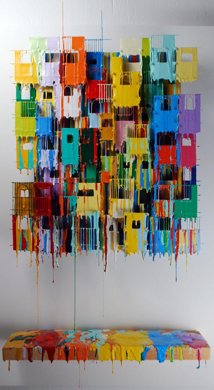 Little Boxes XIV | Bright Artwork | Russell West 3D Wall Art Sculptures