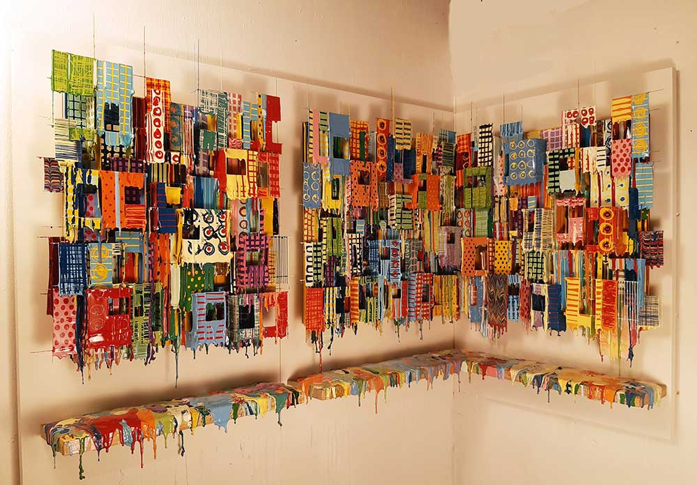 Little Boxes XXXVII - Wall Sculptures Large   Russell West 3D Wall Art Sculptures